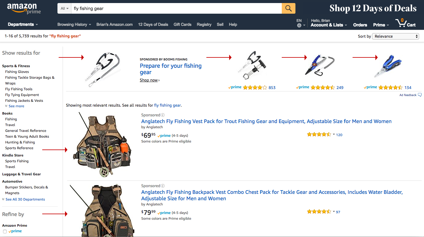 Screenshot showing amazon search results