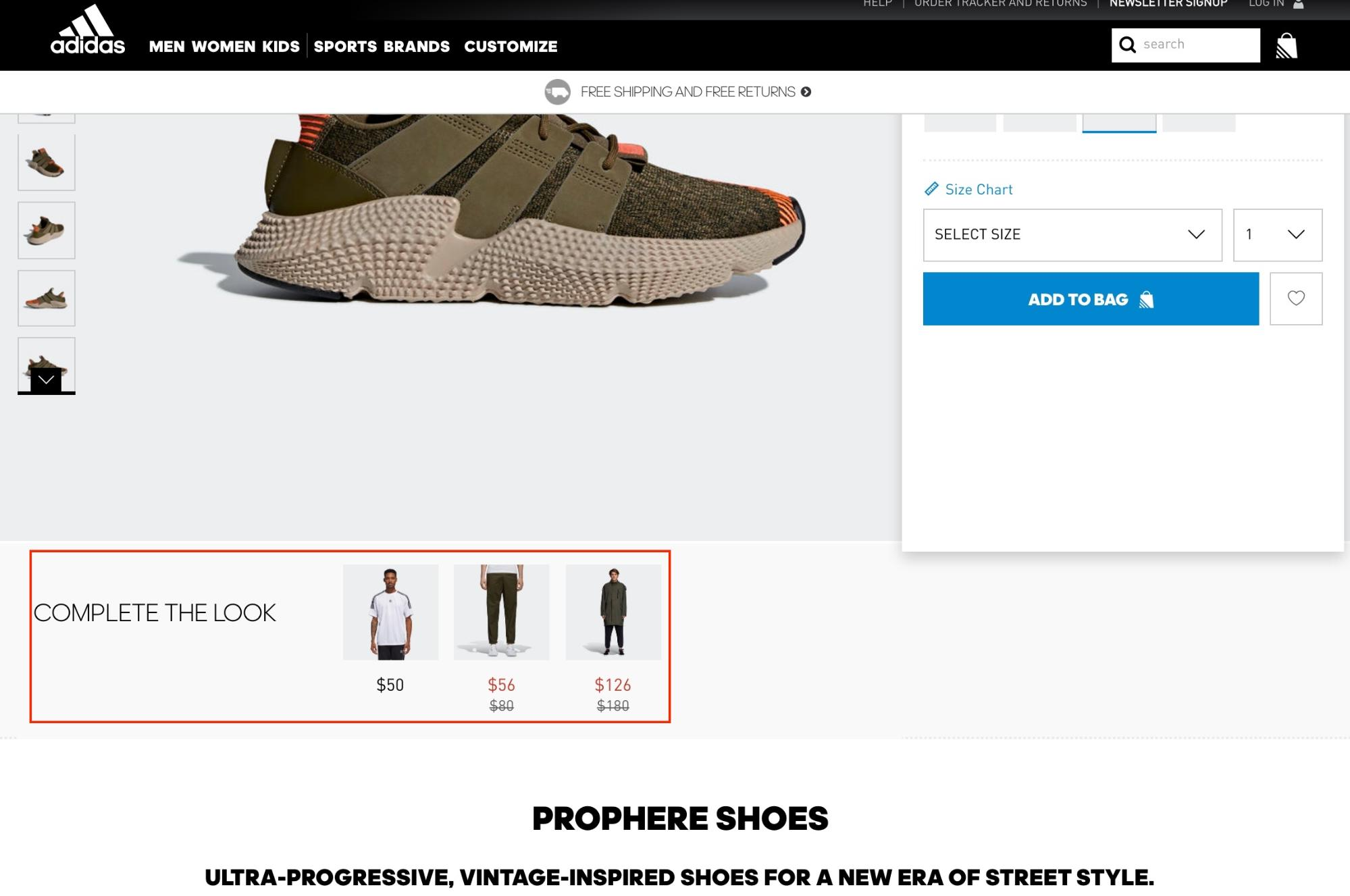 Screenshot showing a product page on adidas