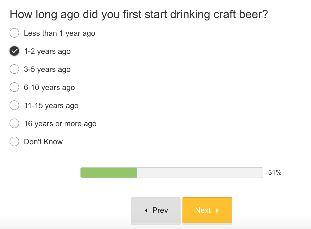Screenshot showing a survey question