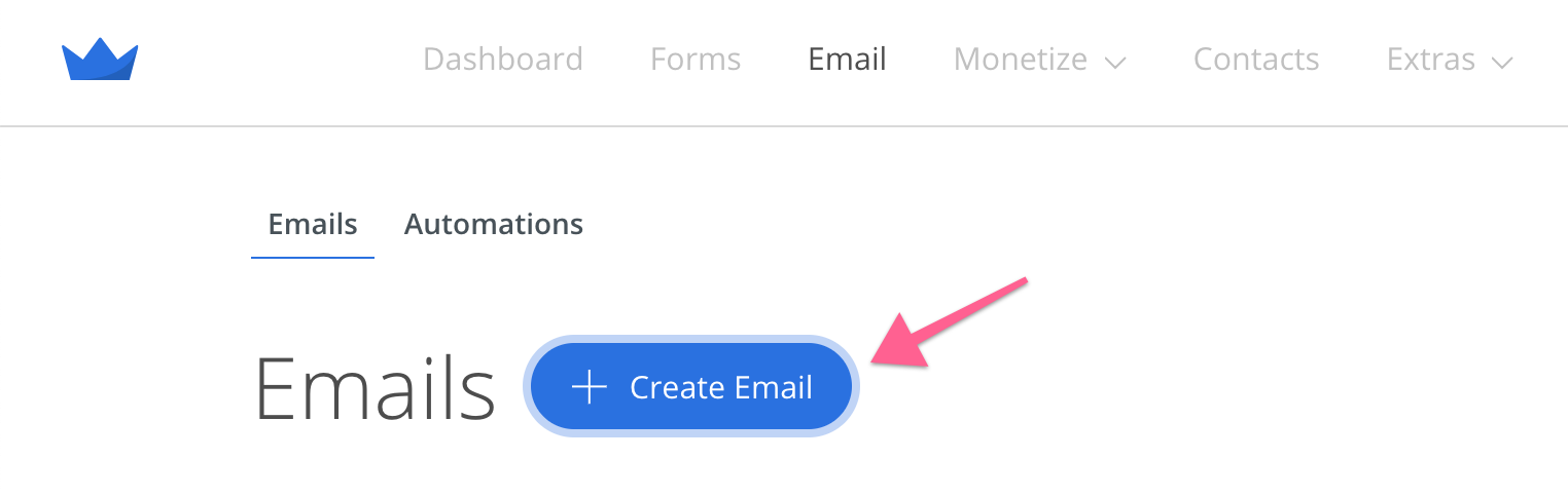 Screenshot of Create Email button in Sumo