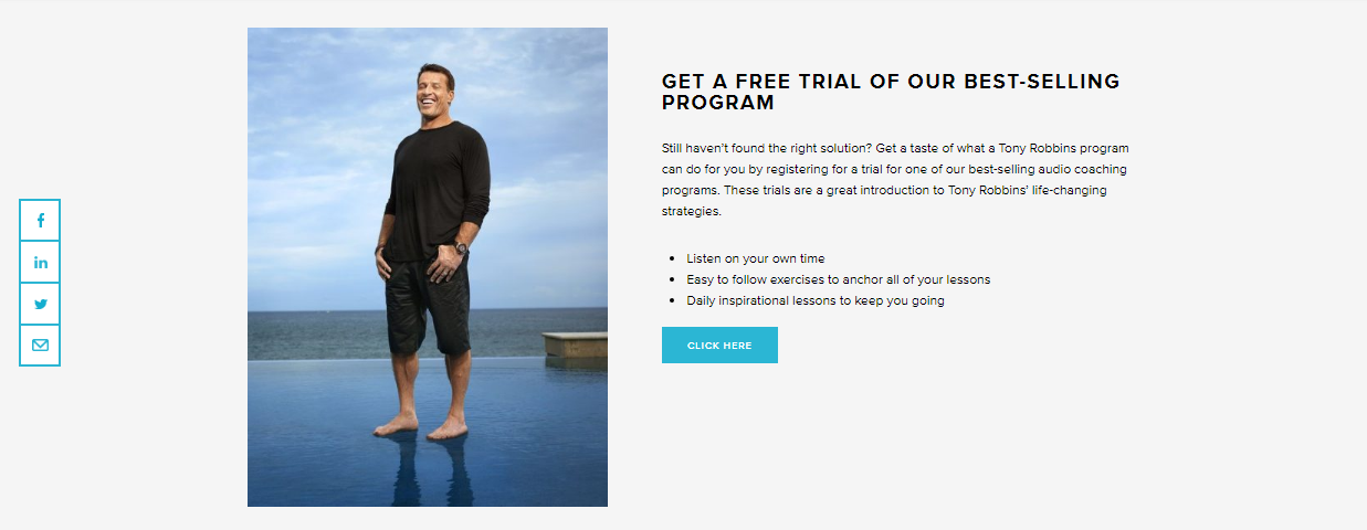 Screenshot of a trial CTA on Tony Robbins