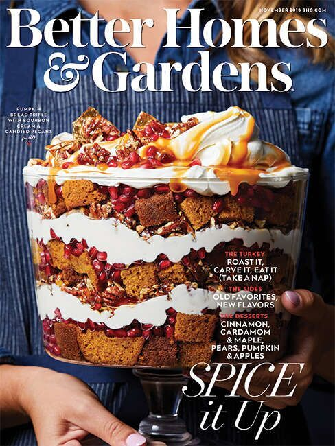 Magazine cover showing a cake