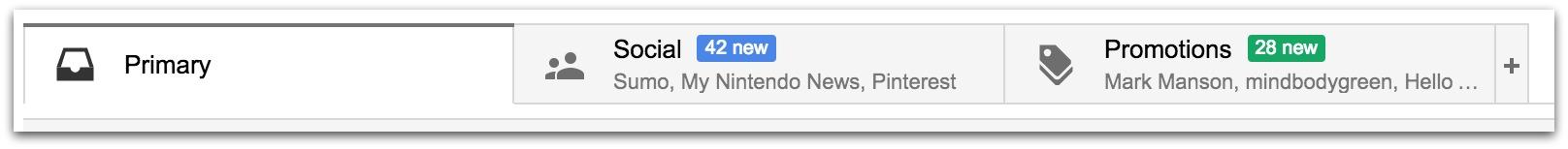Screenshot showing the inbox folders on Gmail