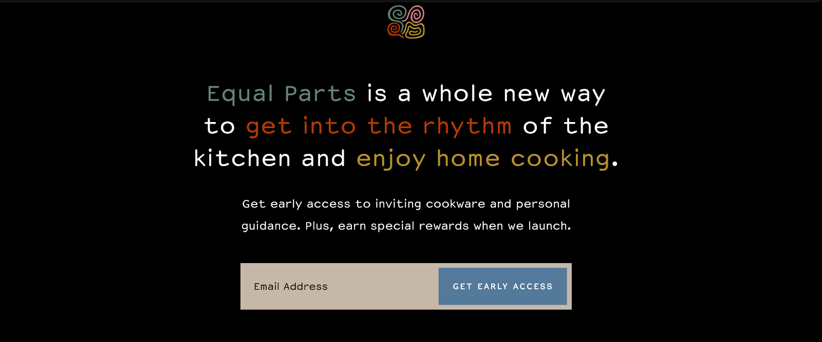 Coming Soon Page: Screenshot of Equal Parts coming soon page