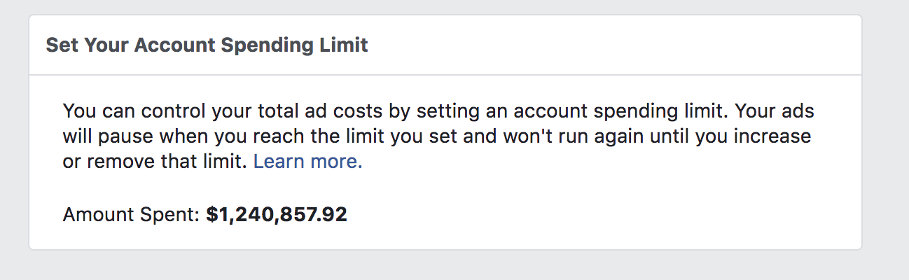 "Screenshot showing the ""set your spending limit"" page on the Facebook Ads dashboard"