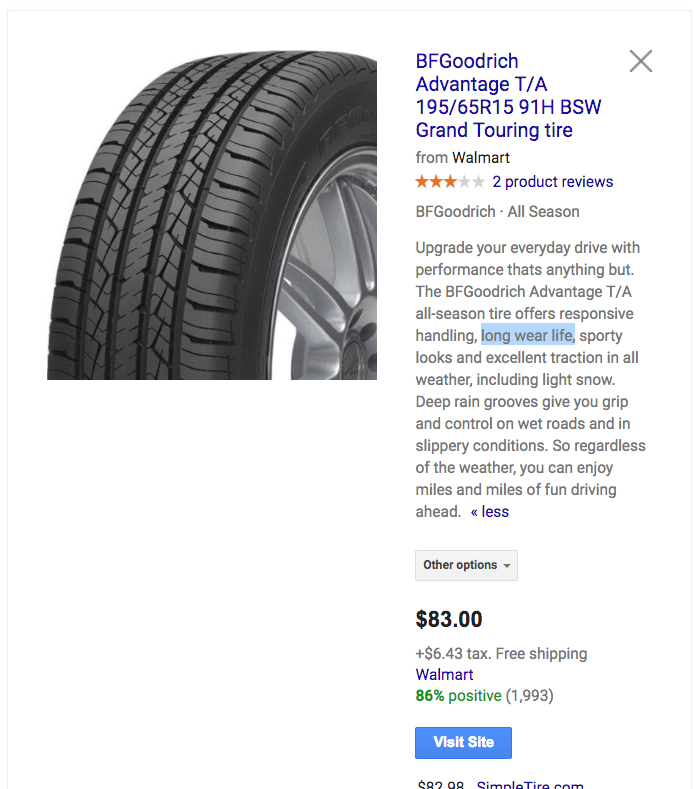 Screenshot showing a tire product page