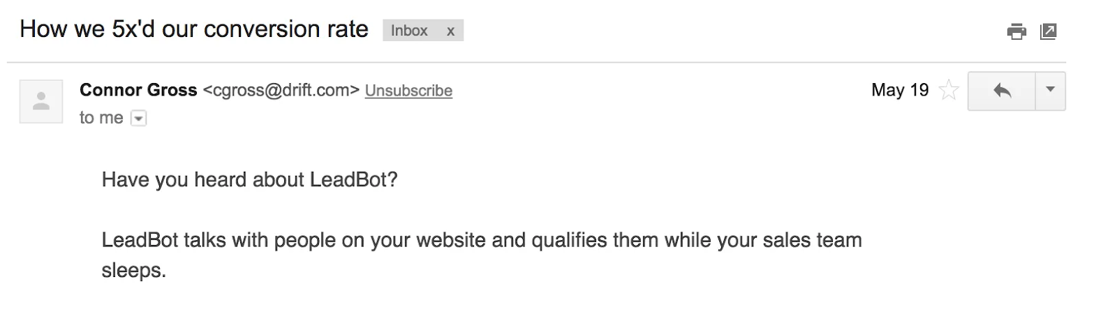 Screenshot of email using the Results email formula — How We [Result]
