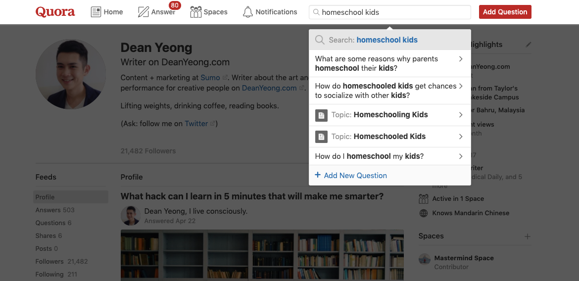 Screenshot of topics or keywords typed into Quora search bar