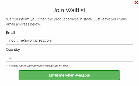 Screenshot showing a waitlist popup