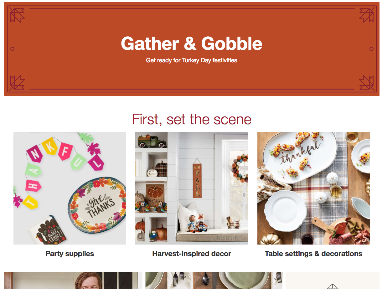 Screenshot showing a page on gather and gobble
