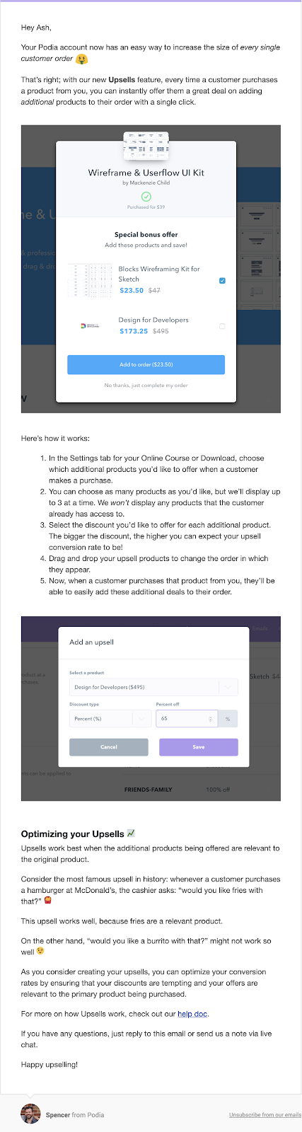 Screenshot of product update emails from Podia