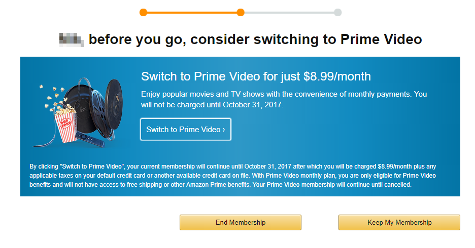 Screenshot showing the page you see when you try to cancel amazon prime