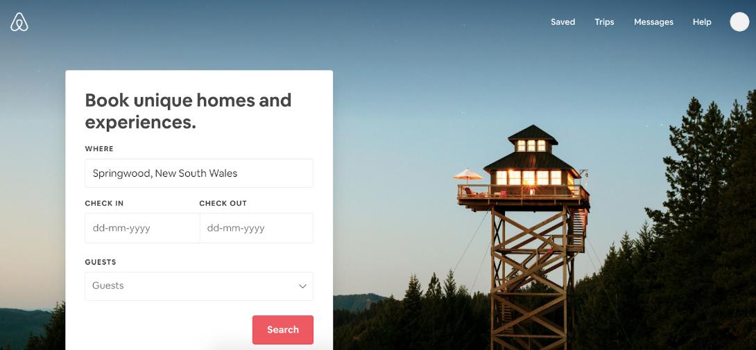 Screenshot showing Airbnb homepage