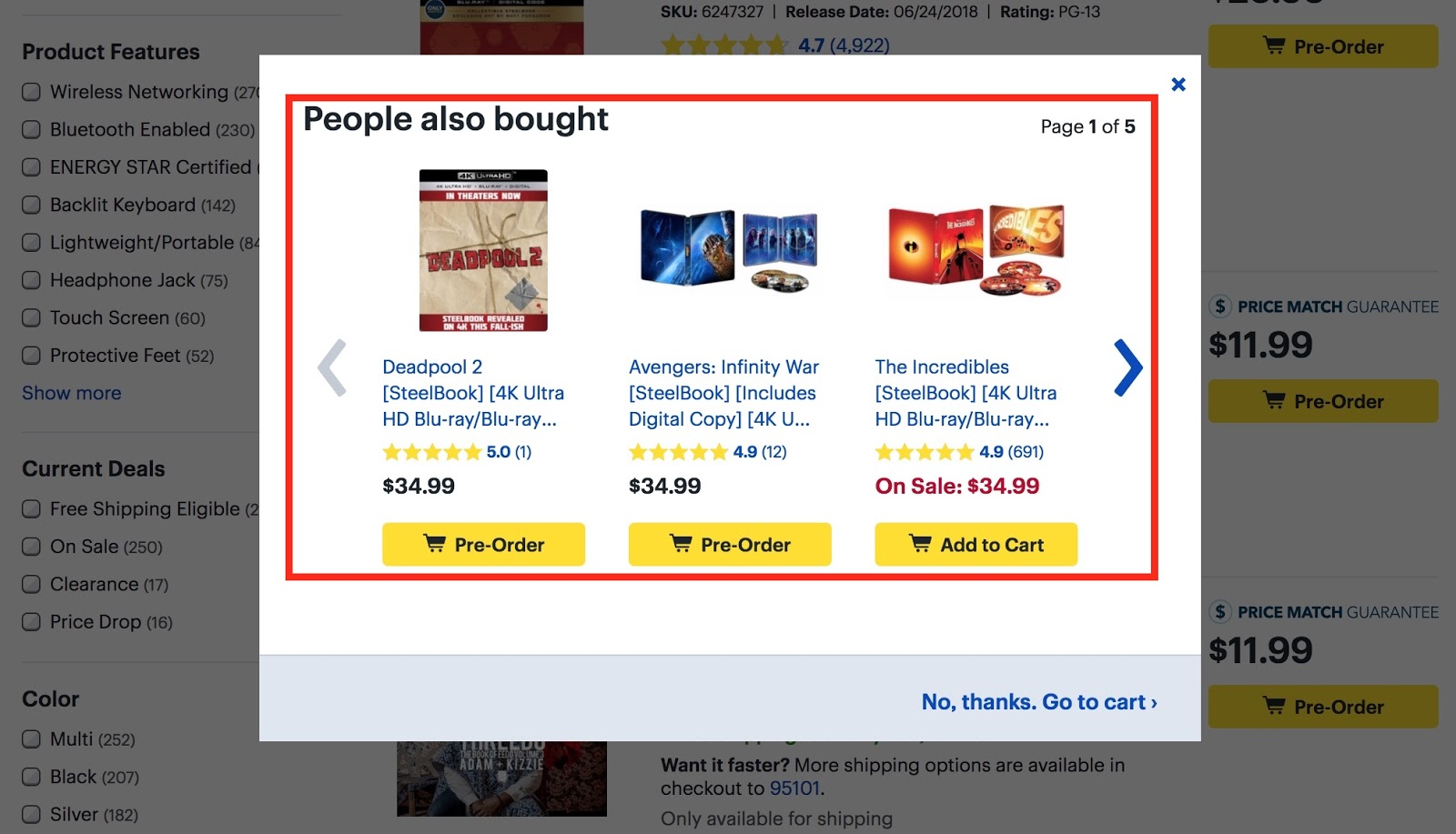"Screenshot showing ""people also bought"" popup"