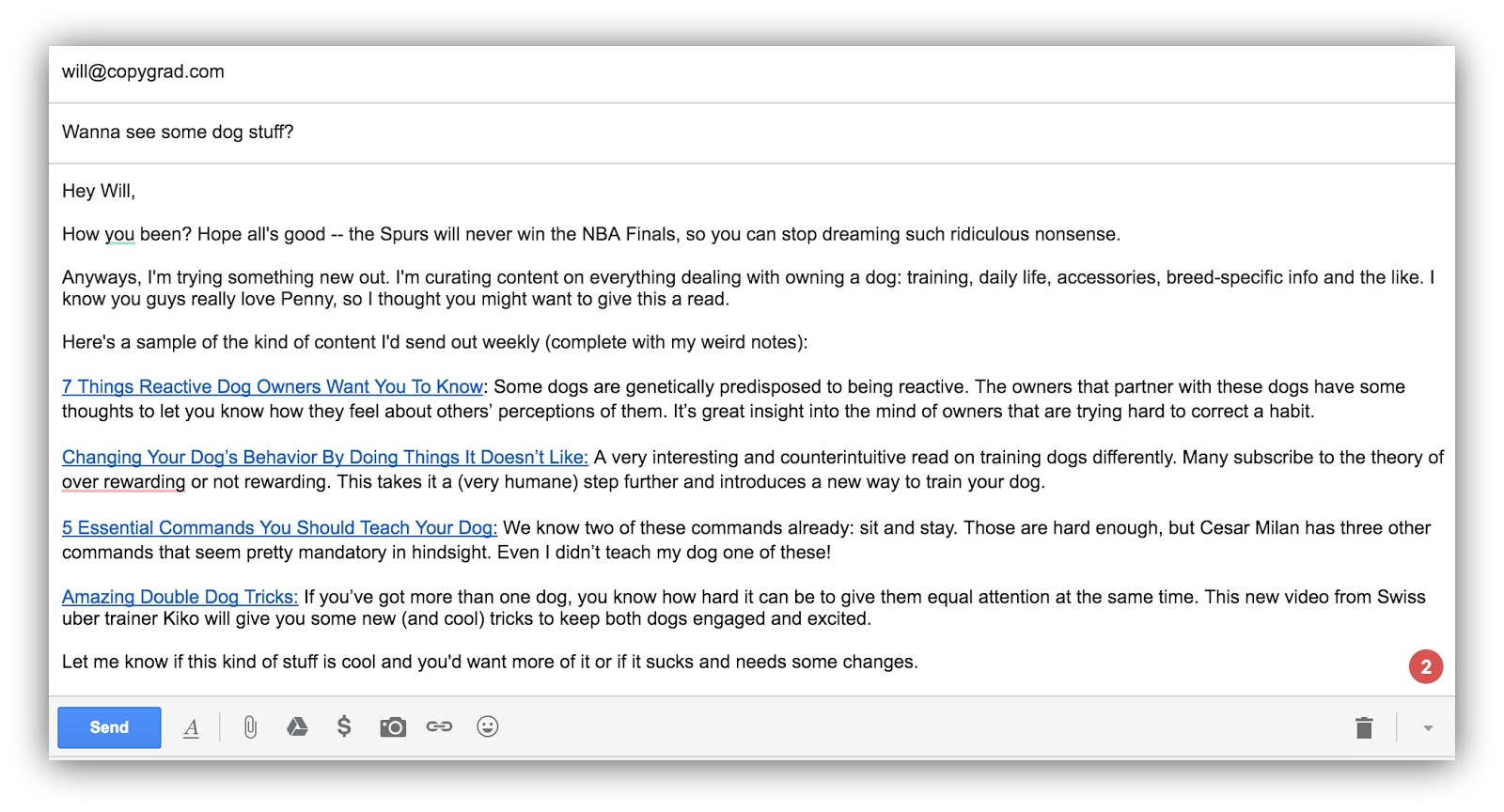 content curation email example