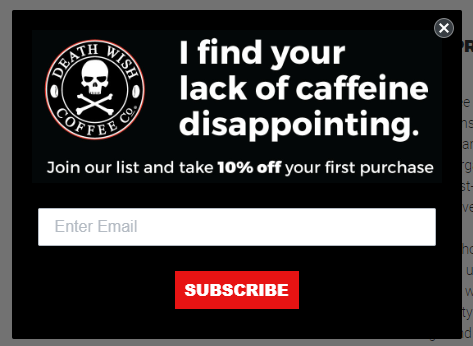 Screenshot of Death Wish Coffee pop-up