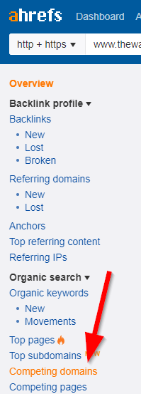 Screenshot showing Ahrefs sidebar