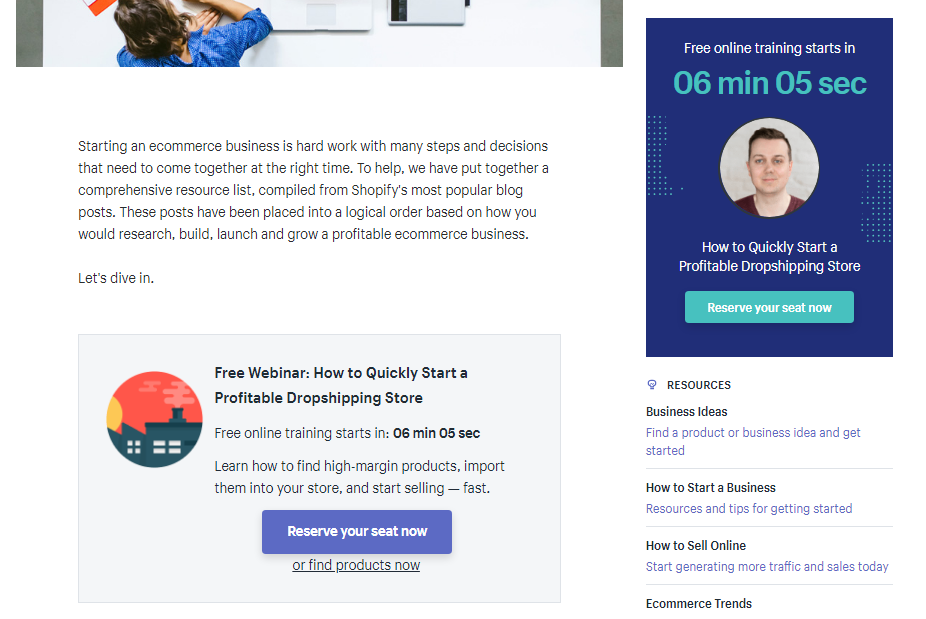 Screenshot showing a countdown and a landing page for a webinar on shopify