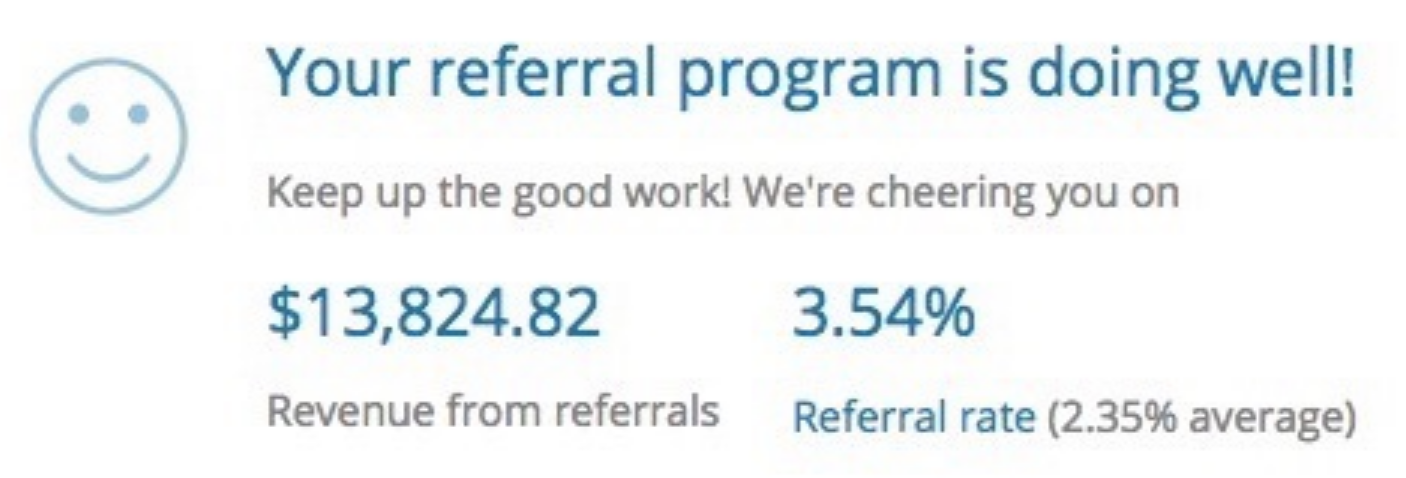 Screenshot showing stats for a referral program