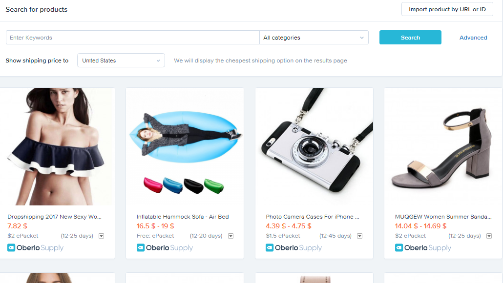 Screenshot showing product search on a shopify-powered website