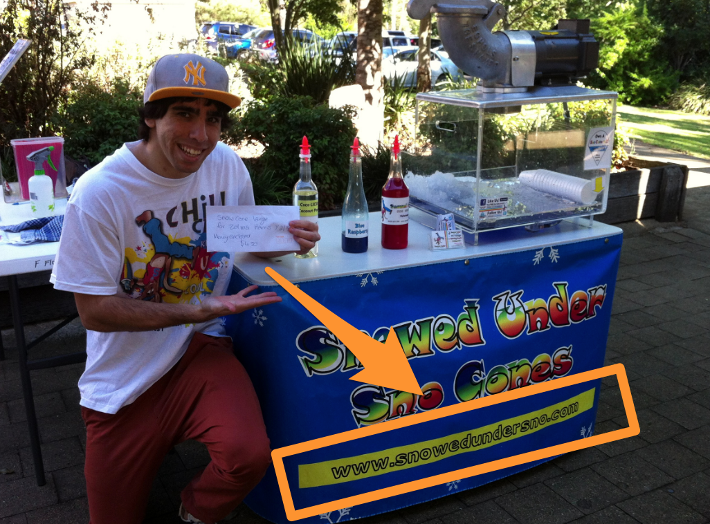 Screenshot showing Chris Von Wilpert along with his ice cream cart, and a link to his website