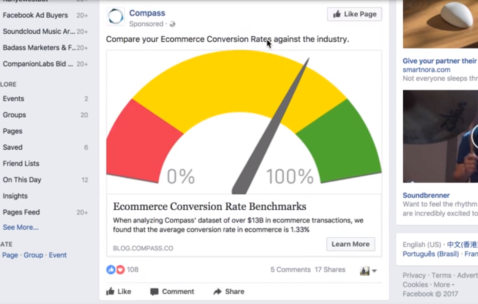 Screenshot showing a facebook ad