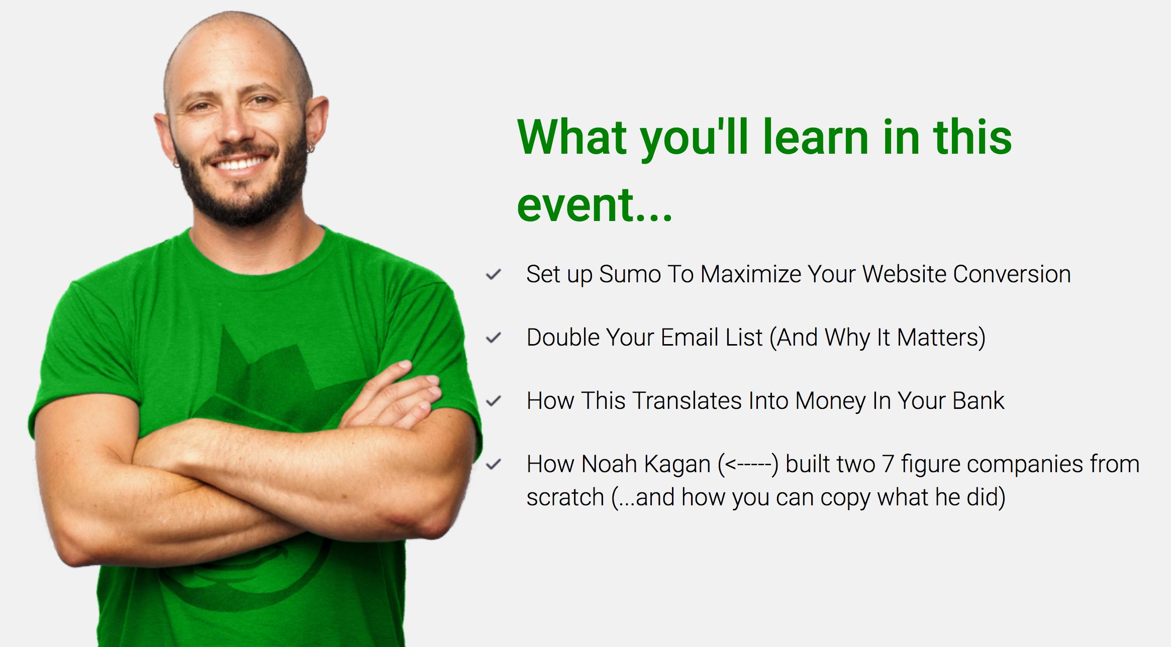 Screenshot of a webinar promotion image featuring Noah Kagan
