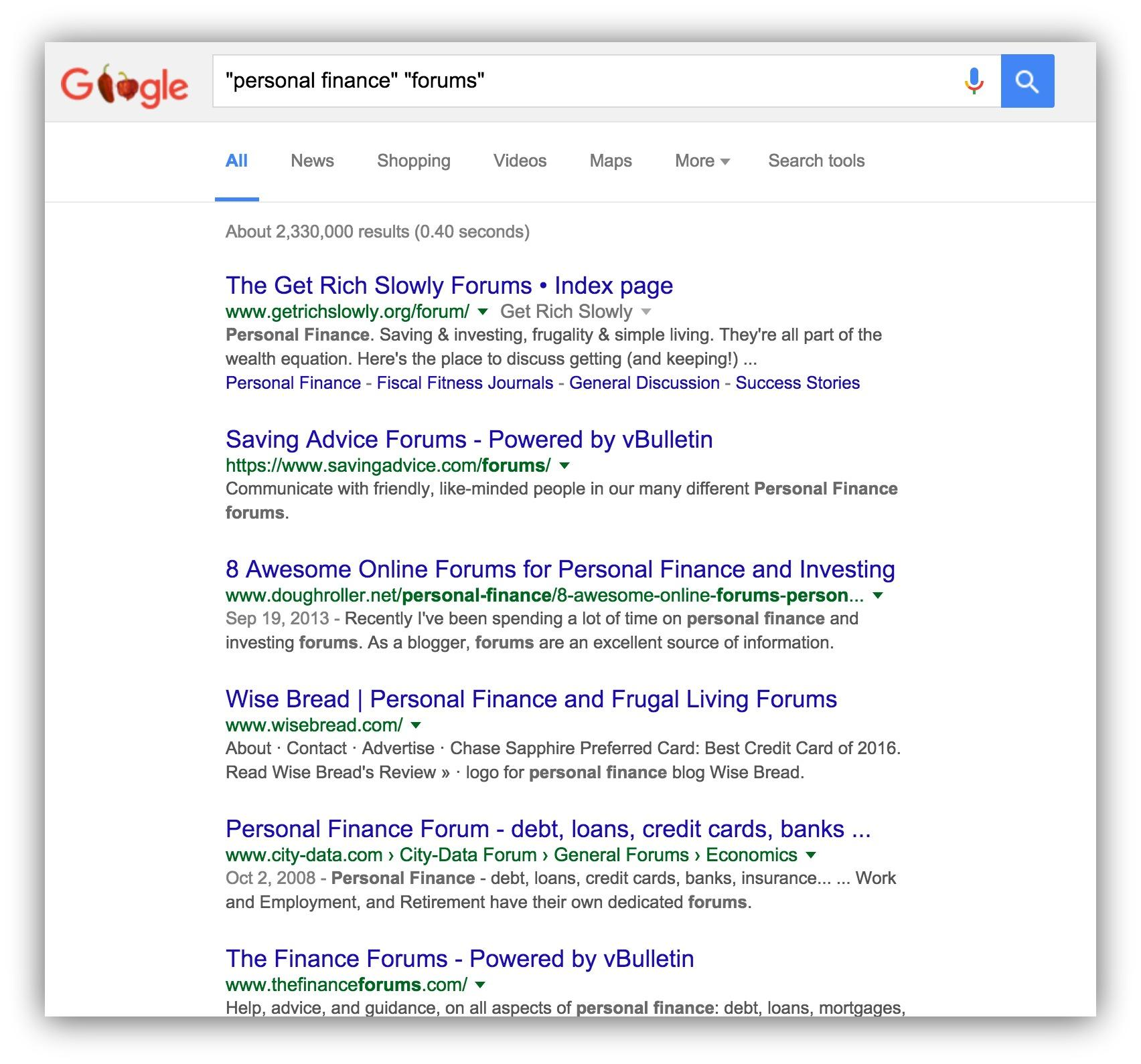"Screenshot of google search results for ""personal finance forums"""