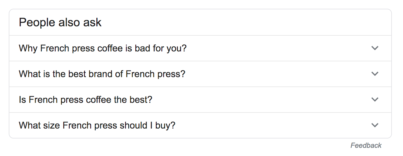 Google: People Also Ask (PAA) boxes