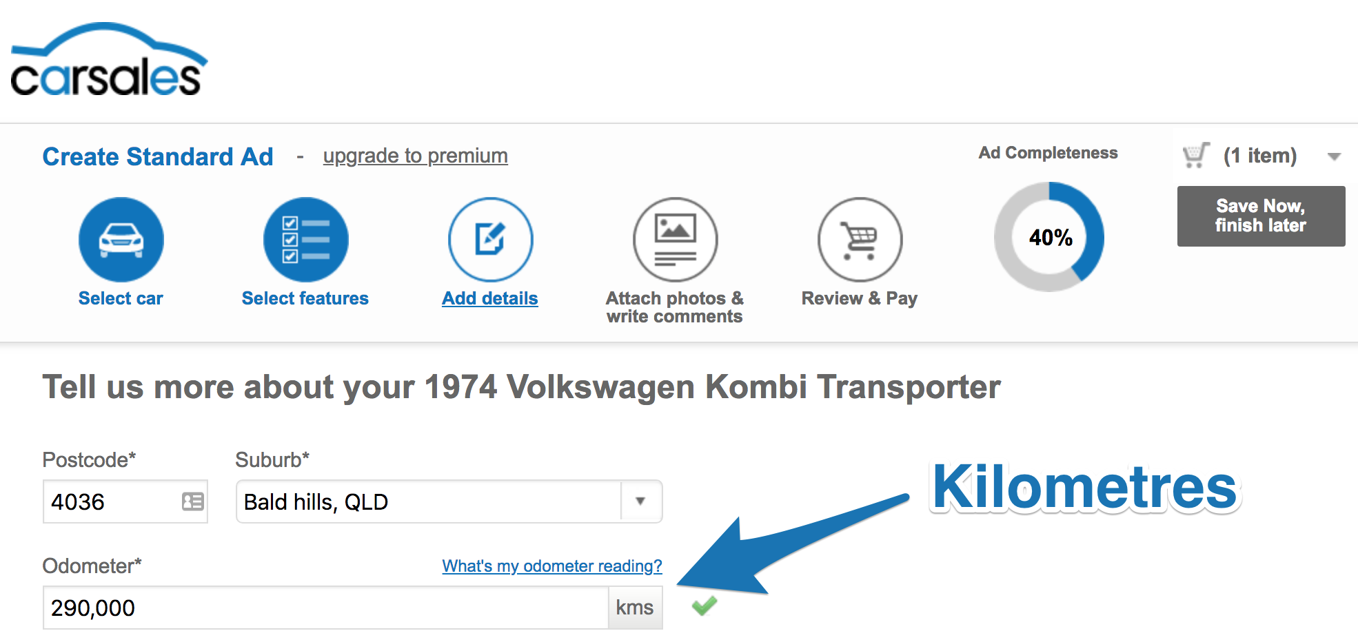 Screenshot showing the add information page on carsales