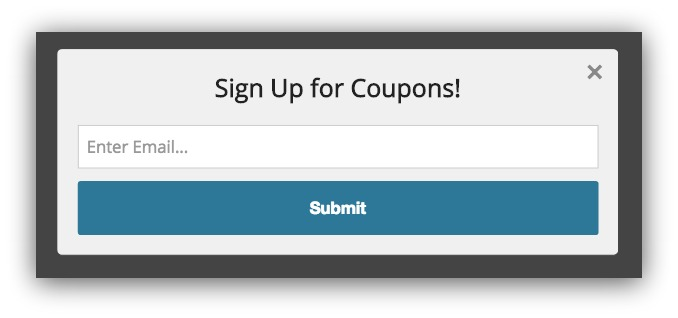 Pop-up example for coupons
