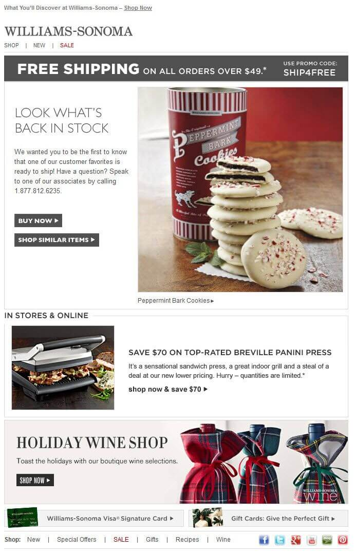 Screenshot of Williams Sonoma email
