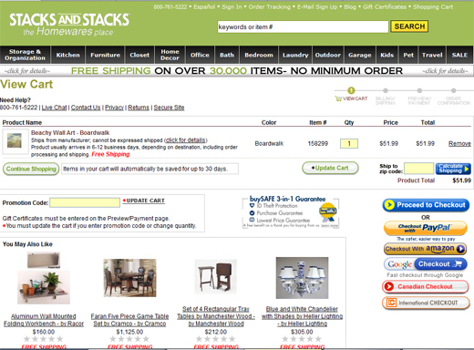 Screenshot showing an ecommerce store