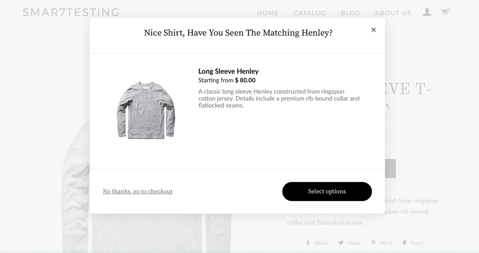Screenshot showing a cross-sell on a clothing ecommerce store