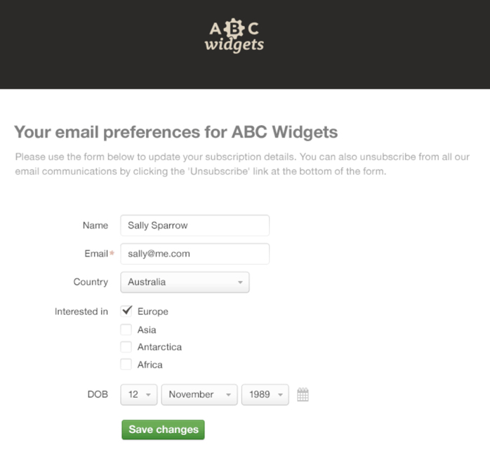 ABC widgets segment email list