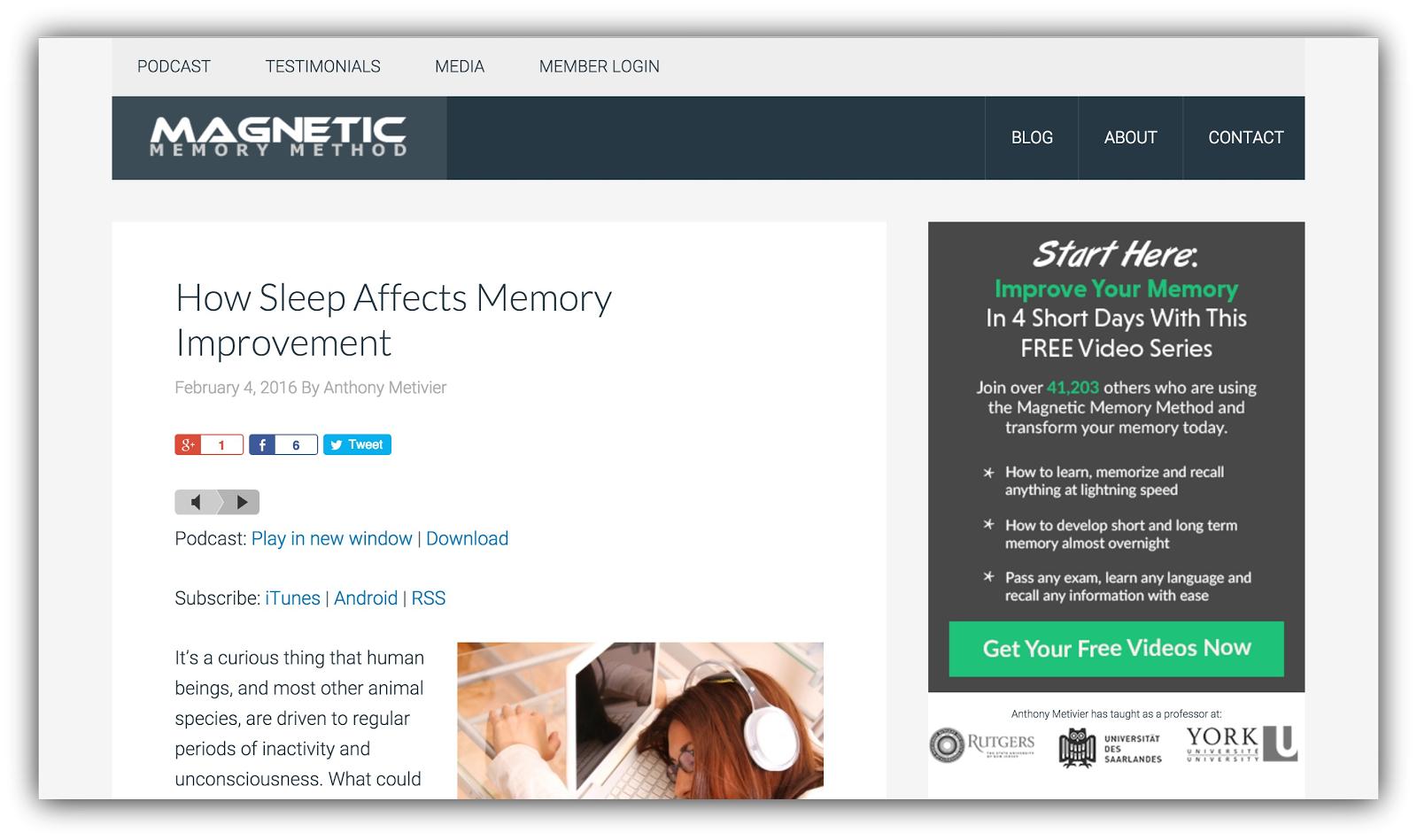 magnetic memory method sleep