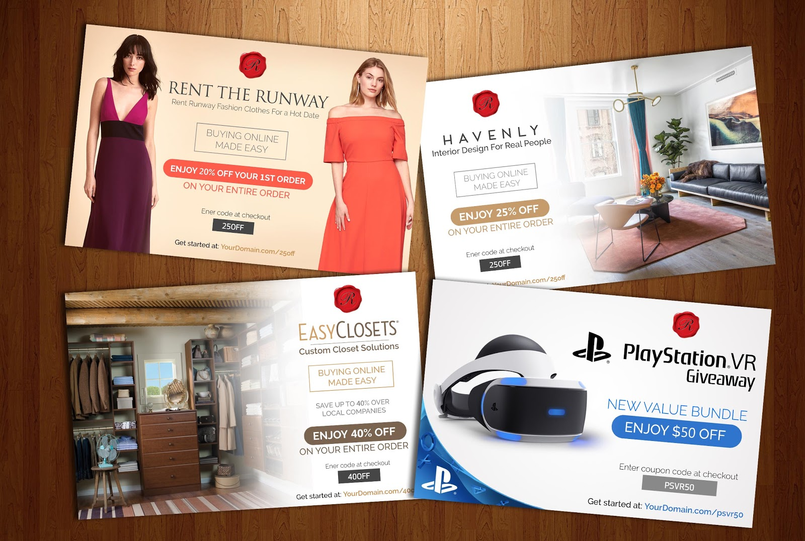 Screenshot showing four brochures