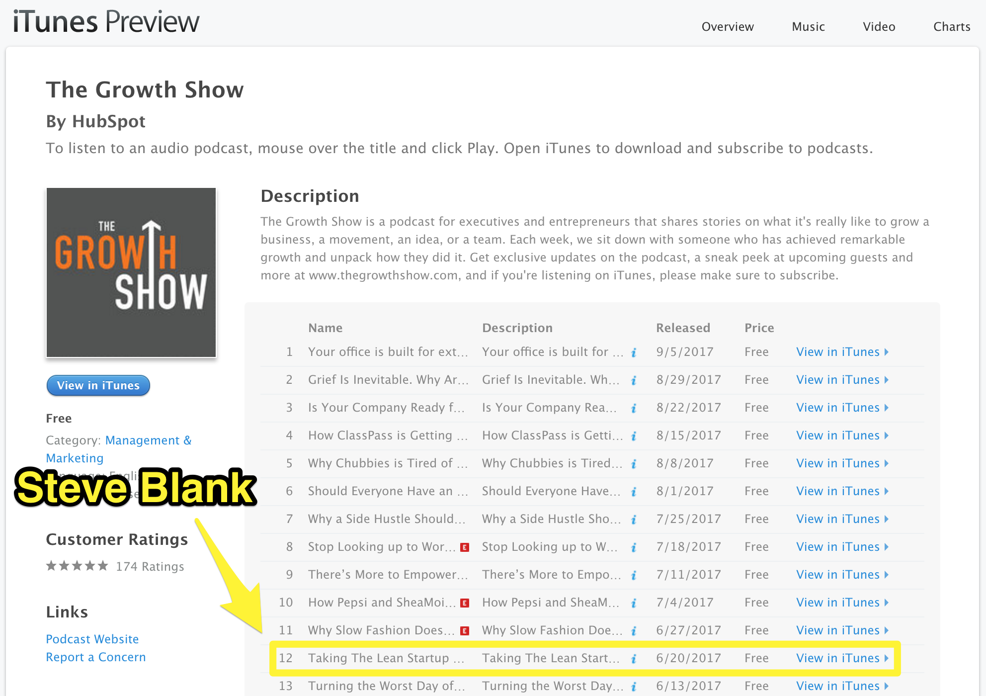 Screenshot showing itunes podcast info for a hubspot podcast
