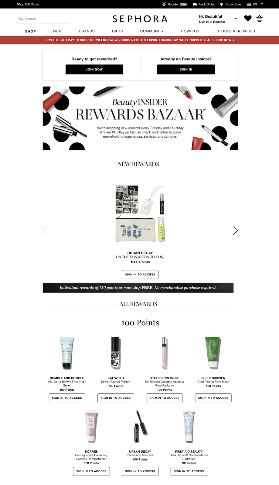 Screenshot showing a page on Sephora