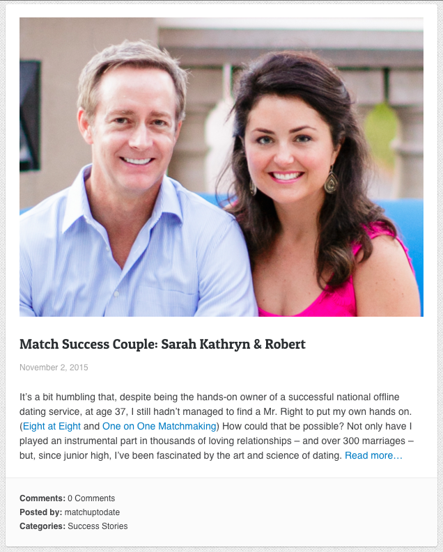 Screenshot of match.com using testimonials to build social proof