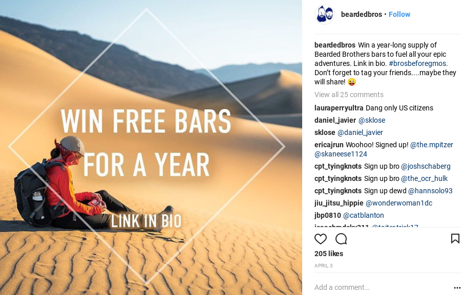 Screenshot showing an instagram post by the bearded brothers