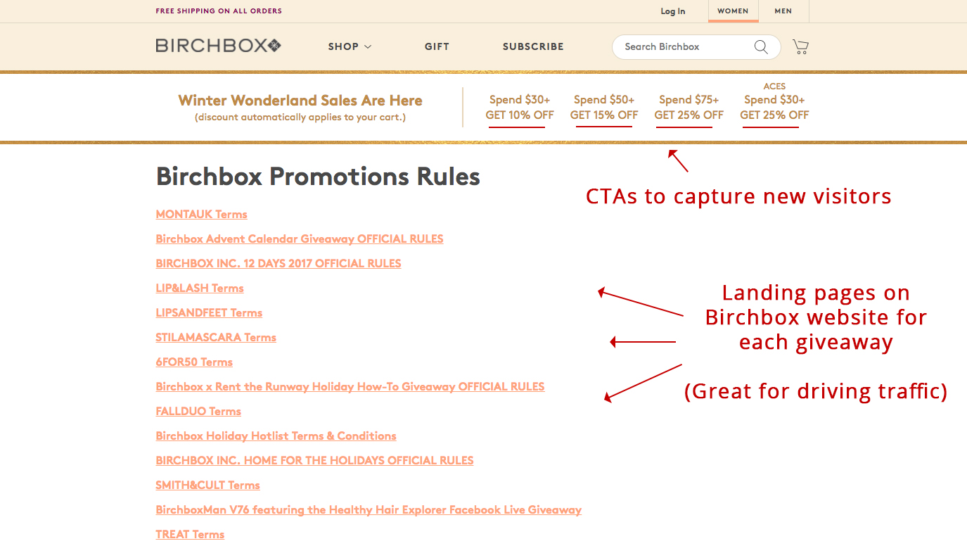 Screenshot showing promotion rules on Birchbox