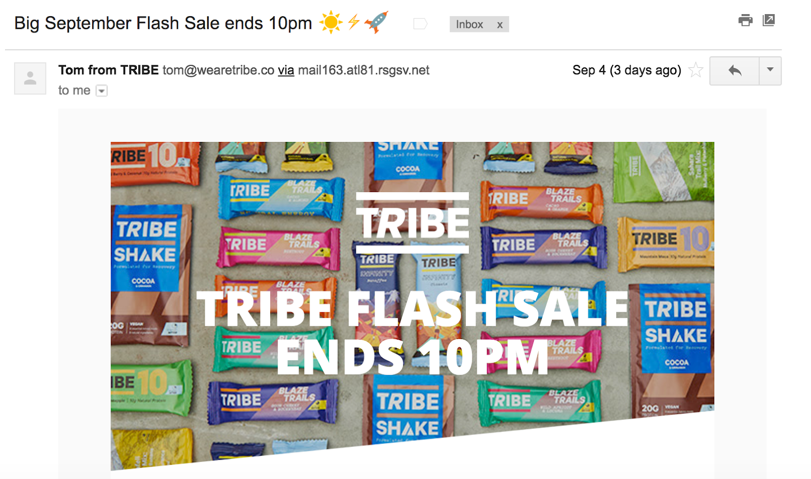 Best Email Subject Lines: Screenshot of email from Tribe