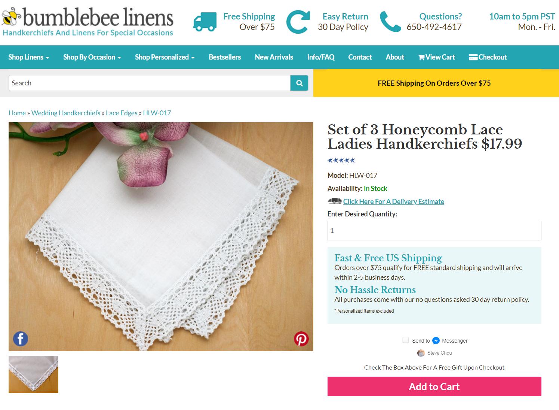 Bumblebee linens-handkerchiefs sales page