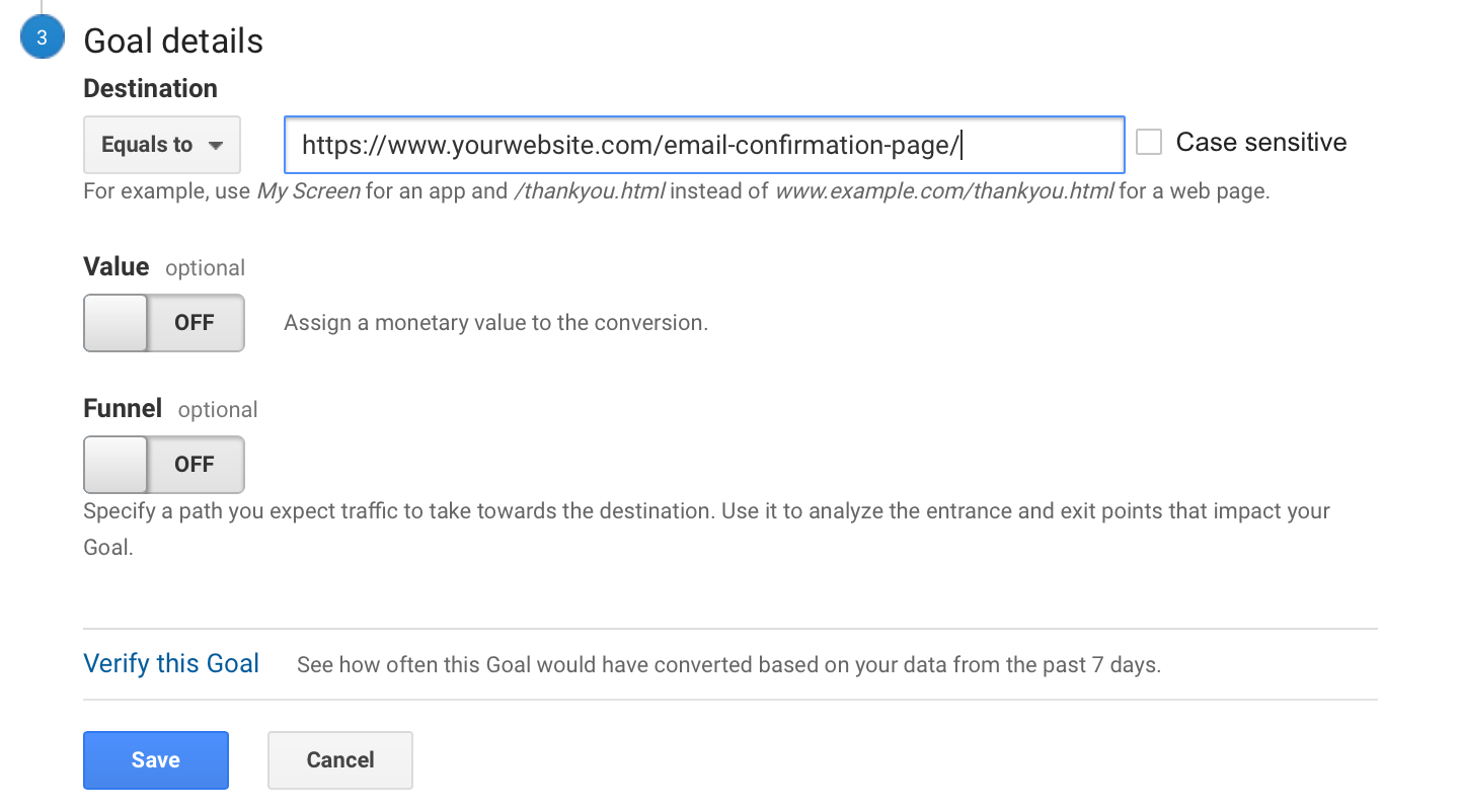 Guild for set up a lead capture goal in google analytics -goal details save