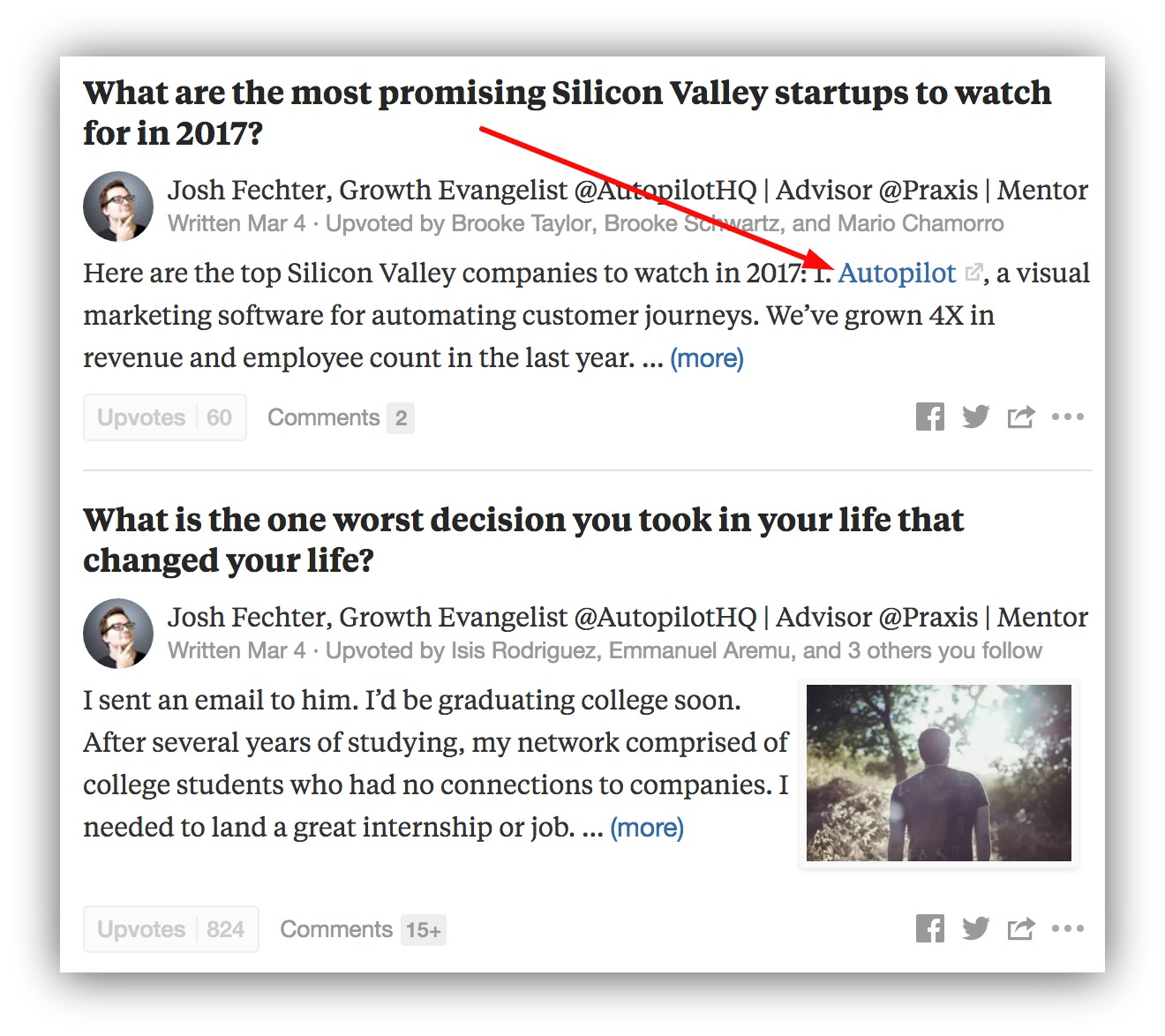 Screenshot showing a link on an answer by Josh Fechter on Quora