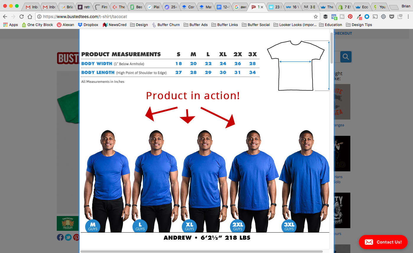 Screenshot showing information about tshirts