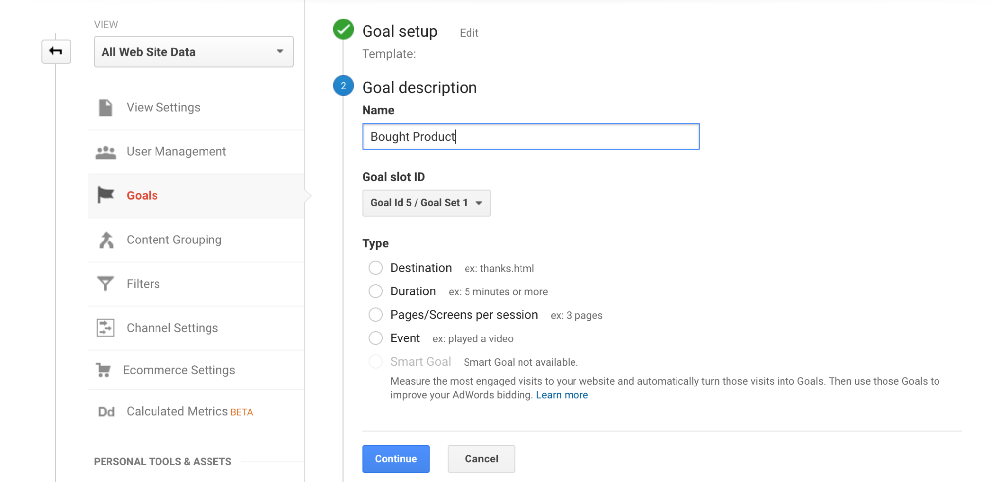 Screenshot showing the goal setup page on google analytics