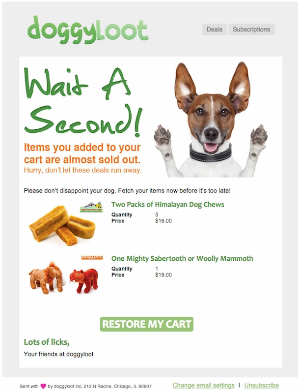 Screenshot showing an email example of a pet shop