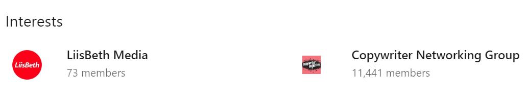 Screenshot of LinkedIn Interests -LiisBeth Media & Copywriter Networking Group